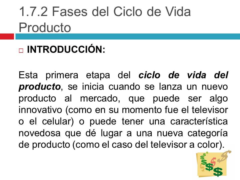 1.7.2 Fases del Ciclo de Vida Producto INTRODUCCIÓN: Esta primera etapa del ciclo de vida del producto, se inicia cuando se lanza un nuevo producto al
