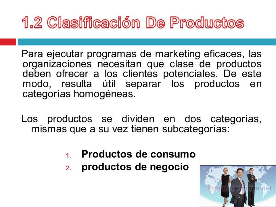Para ejecutar programas de marketing eficaces, las organizaciones necesitan que clase de productos deben ofrecer a los clientes potenciales. De este m