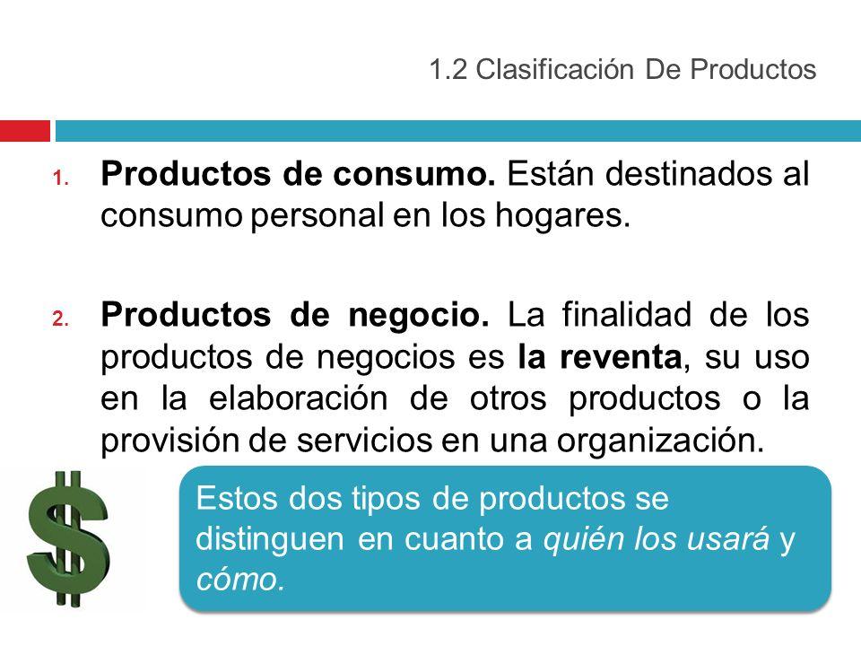 1.2 Clasificación De Productos 1. Productos de consumo. Están destinados al consumo personal en los hogares. 2. Productos de negocio. La finalidad de