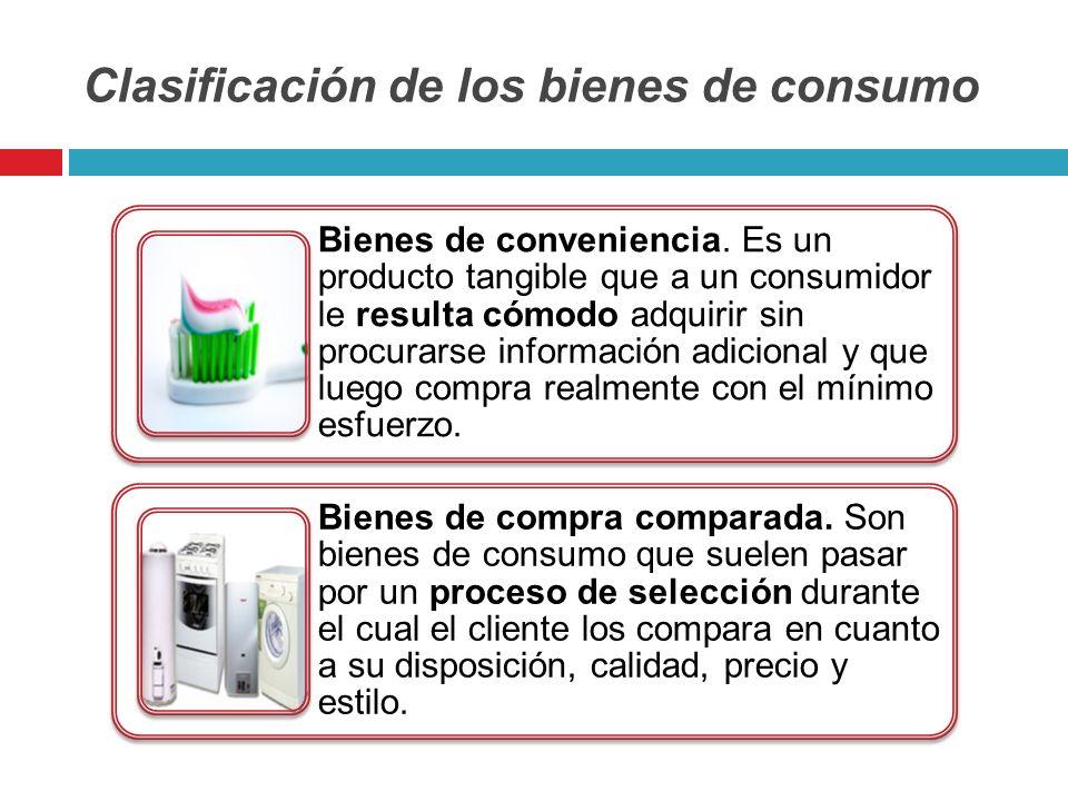 Clasificación de los bienes de consumo Bienes de conveniencia. Es un producto tangible que a un consumidor le resulta cómodo adquirir sin procurarse i