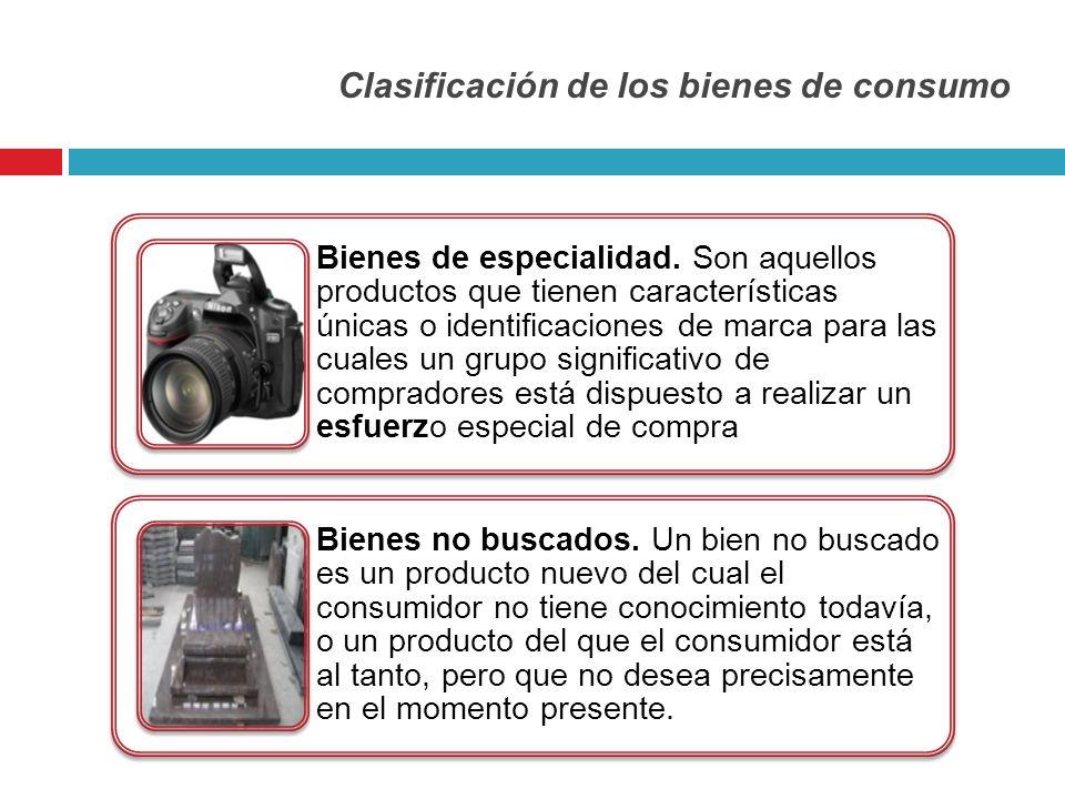 Clasificación de los bienes de consumo Bienes de especialidad. Son aquellos productos que tienen características únicas o identificaciones de marca pa