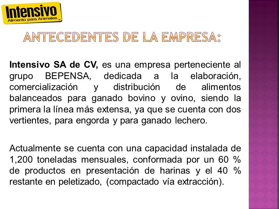 Intensivo SA de CV, es una empresa perteneciente al grupo BEPENSA, dedicada a la elaboración, comercialización y distribución de alimentos balanceados para ganado bovino y ovino, siendo la primera la línea más extensa, ya que se cuenta con dos vertientes, para engorda y para ganado lechero.