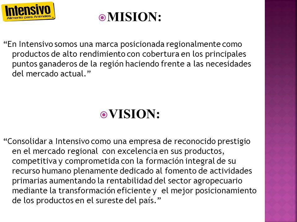MISION: En Intensivo somos una marca posicionada regionalmente como productos de alto rendimiento con cobertura en los principales puntos ganaderos de