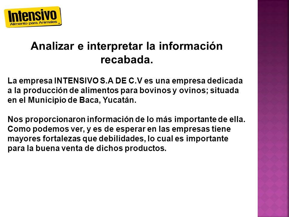 Analizar e interpretar la información recabada. La empresa INTENSIVO S.A DE C.V es una empresa dedicada a la producción de alimentos para bovinos y ov