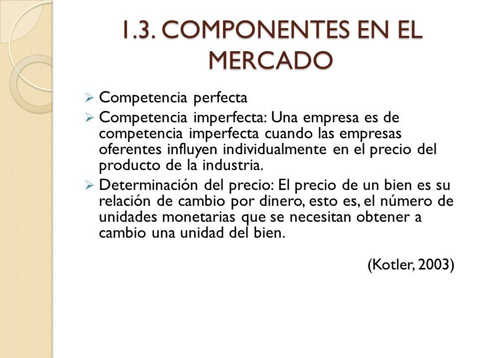 1.3. COMPONENTES EN EL MERCADO Competencia perfecta Competencia imperfecta: Una empresa es de competencia imperfecta cuando las empresas oferentes inf