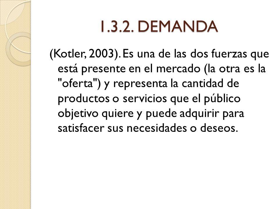1.3.2. DEMANDA (Kotler, 2003). Es una de las dos fuerzas que está presente en el mercado (la otra es la