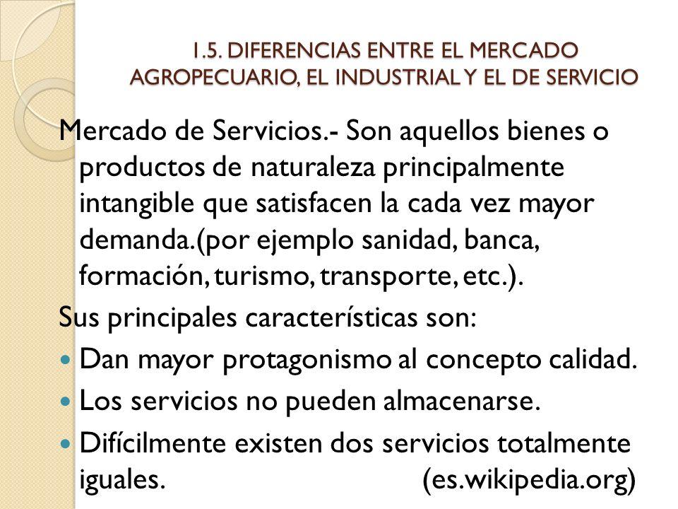 1.5. DIFERENCIAS ENTRE EL MERCADO AGROPECUARIO, EL INDUSTRIAL Y EL DE SERVICIO Mercado de Servicios.- Son aquellos bienes o productos de naturaleza pr