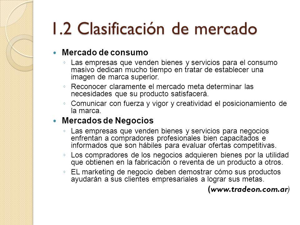 1.2 Clasificación de mercado Mercado de consumo Las empresas que venden bienes y servicios para el consumo masivo dedican mucho tiempo en tratar de es