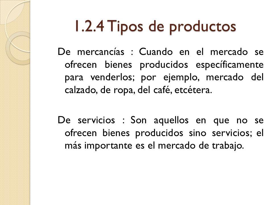 1.2.4 Tipos de productos De mercancías : Cuando en el mercado se ofrecen bienes producidos específicamente para venderlos; por ejemplo, mercado del ca
