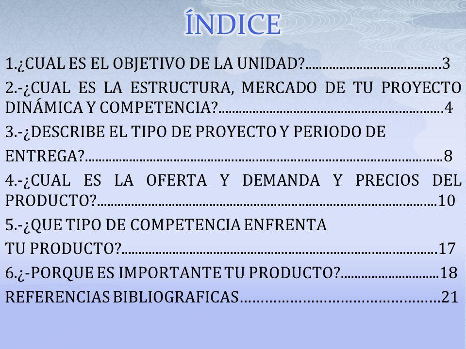 1.¿CUAL ES EL OBJETIVO DE LA UNIDAD?........................................3 2.-¿CUAL ES LA ESTRUCTURA, MERCADO DE TU PROYECTO DINÁMICA Y COMPETENCIA