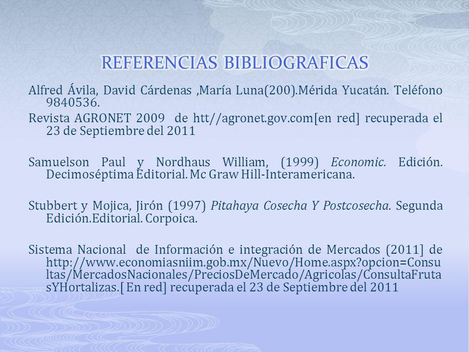 Alfred Ávila, David Cárdenas,María Luna(200).Mérida Yucatán. Teléfono 9840536. Revista AGRONET 2009 de htt//agronet.gov.com[en red] recuperada el 23 d