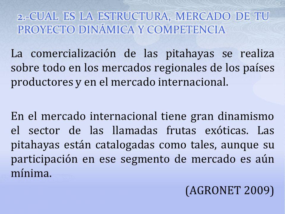 La comercialización de las pitahayas se realiza sobre todo en los mercados regionales de los países productores y en el mercado internacional. En el m