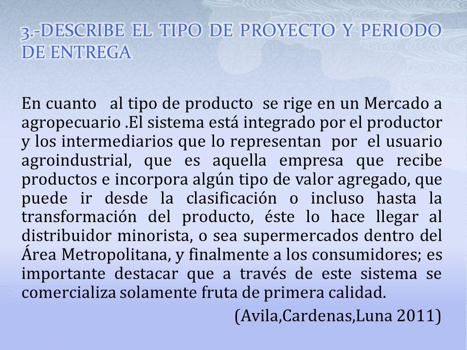 En cuanto al tipo de producto se rige en un Mercado a agropecuario.El sistema está integrado por el productor y los intermediarios que lo representan