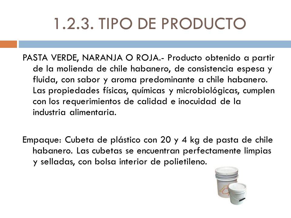 1.2.3. TIPO DE PRODUCTO PASTA VERDE, NARANJA O ROJA.- Producto obtenido a partir de la molienda de chile habanero, de consistencia espesa y fluida, co