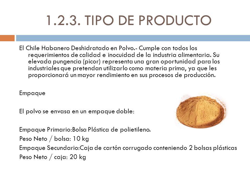1.2.3. TIPO DE PRODUCTO El Chile Habanero Deshidratado en Polvo.- Cumple con todos los requerimientos de calidad e inocuidad de la industria alimentar