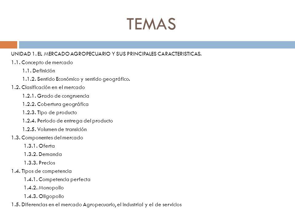 TEMAS UNIDAD 1. EL MERCADO AGROPECUARIO Y SUS PRINCIPALES CARACTERISTICAS. 1.1. Concepto de mercado 1.1. Definición 1.1.2. Sentido Económico y sentido