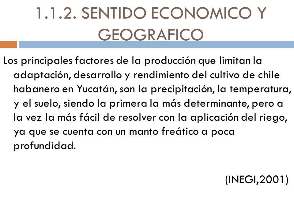 1.1.2. SENTIDO ECONOMICO Y GEOGRAFICO Los principales factores de la producción que limitan la adaptación, desarrollo y rendimiento del cultivo de chi