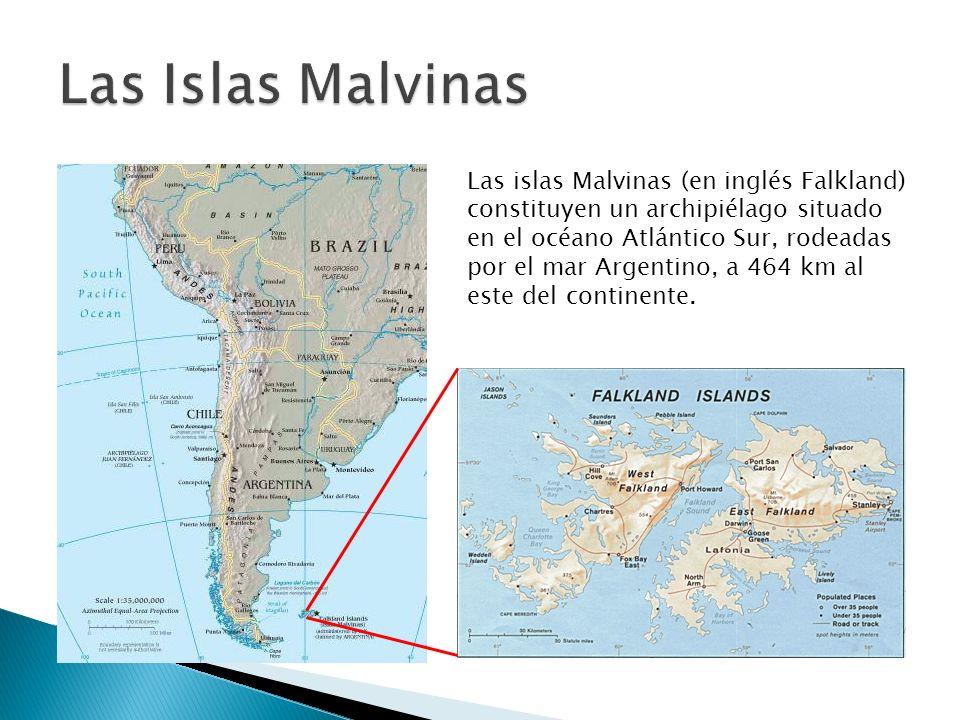 Las islas Malvinas (en inglés Falkland) constituyen un archipiélago situado en el océano Atlántico Sur, rodeadas por el mar Argentino, a 464 km al est