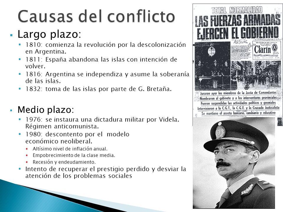 Largo plazo: 1810: comienza la revolución por la descolonización en Argentina. 1811: España abandona las islas con intención de volver. 1816: Argentin