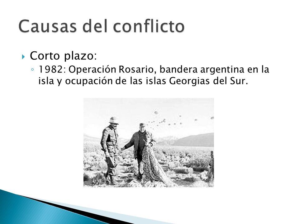 Corto plazo: 1982: Operación Rosario, bandera argentina en la isla y ocupación de las islas Georgias del Sur.