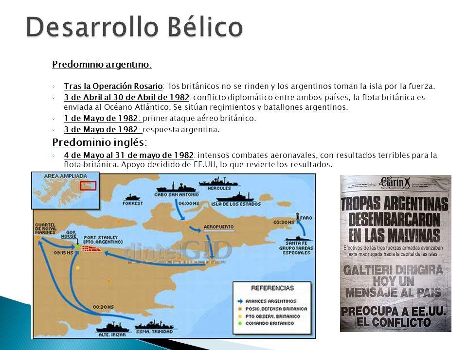 Predominio argentino: Tras la Operación Rosario: los británicos no se rinden y los argentinos toman la isla por la fuerza. 3 de Abril al 30 de Abril d