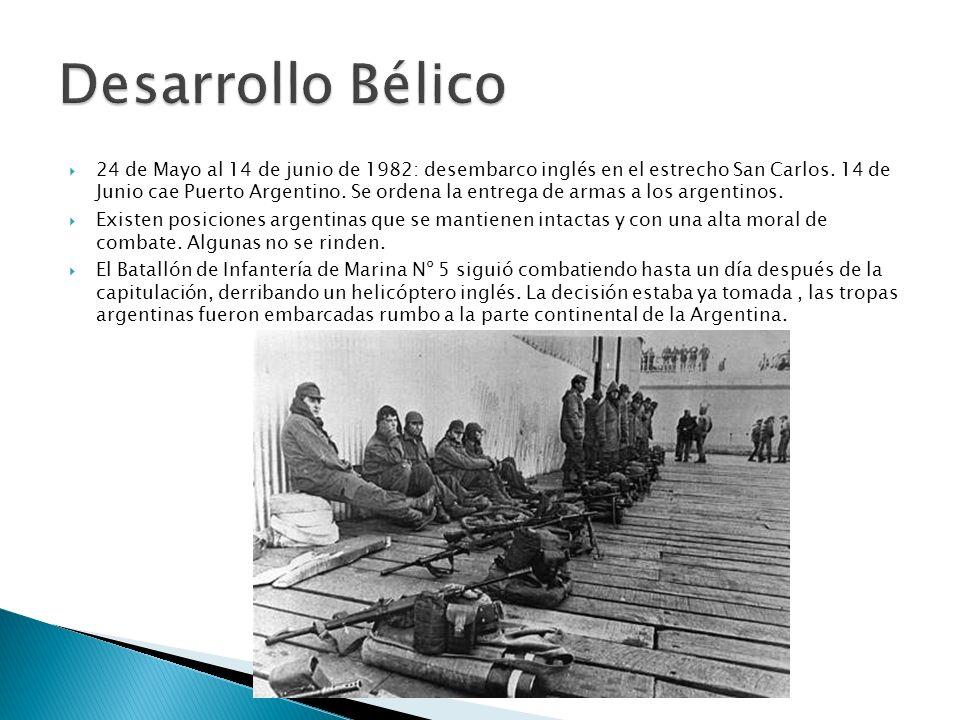 24 de Mayo al 14 de junio de 1982: desembarco inglés en el estrecho San Carlos. 14 de Junio cae Puerto Argentino. Se ordena la entrega de armas a los