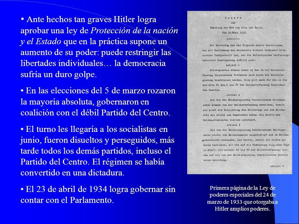 Ante hechos tan graves Hitler logra aprobar una ley de Protección de la nación y el Estado que en la práctica supone un aumento de su poder: puede res