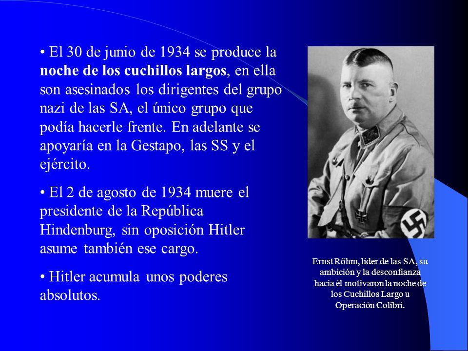 El 30 de junio de 1934 se produce la noche de los cuchillos largos, en ella son asesinados los dirigentes del grupo nazi de las SA, el único grupo que