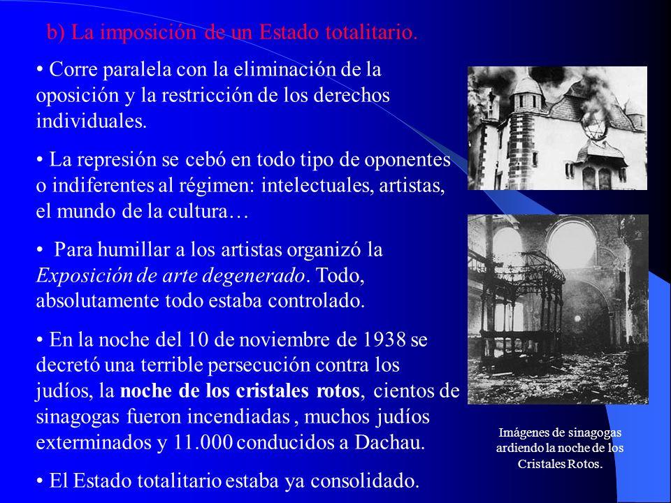 b) La imposición de un Estado totalitario. Corre paralela con la eliminación de la oposición y la restricción de los derechos individuales. La represi
