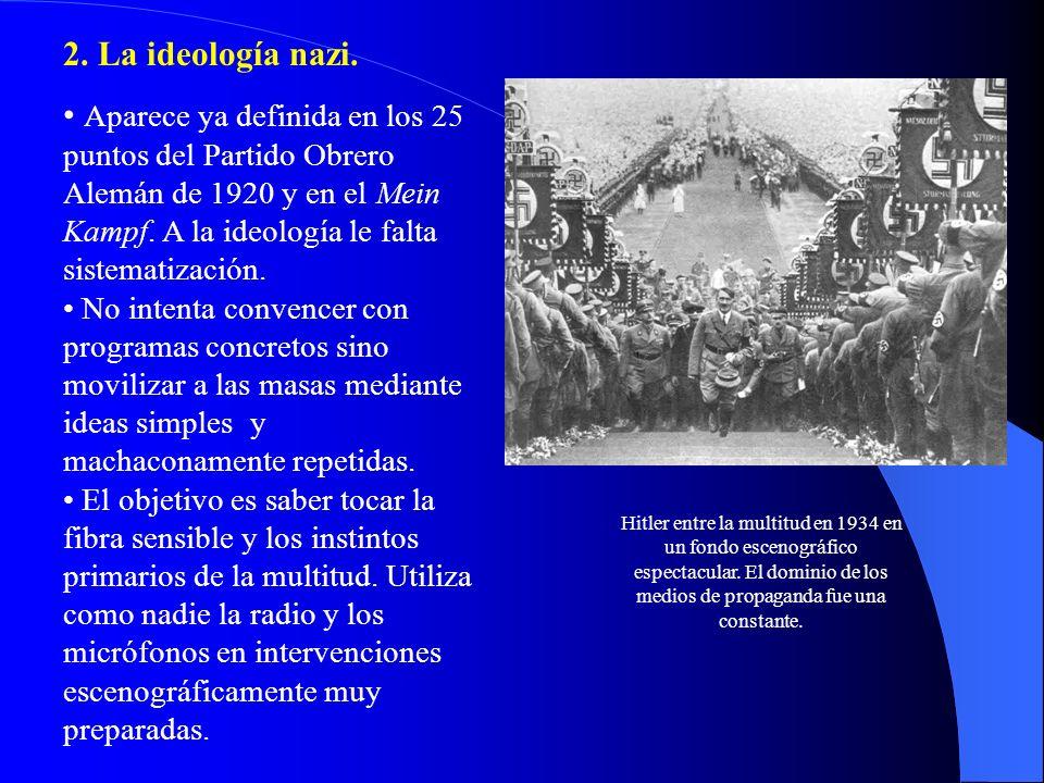 2. La ideología nazi. Aparece ya definida en los 25 puntos del Partido Obrero Alemán de 1920 y en el Mein Kampf. A la ideología le falta sistematizaci