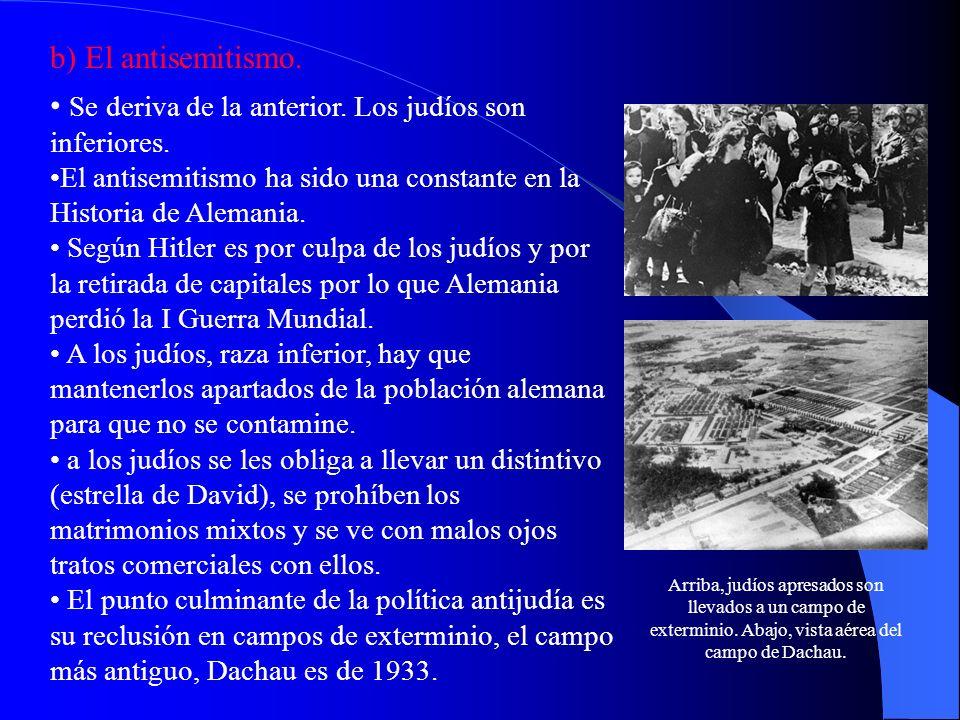 b) El antisemitismo. Se deriva de la anterior. Los judíos son inferiores. El antisemitismo ha sido una constante en la Historia de Alemania. Según Hit