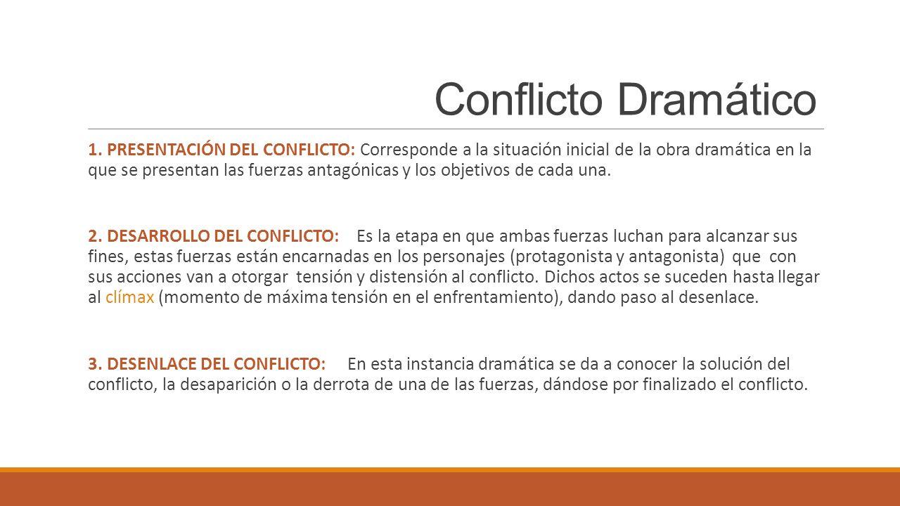 Conflicto Dramático 1. PRESENTACIÓN DEL CONFLICTO: Corresponde a la situación inicial de la obra dramática en la que se presentan las fuerzas antagóni