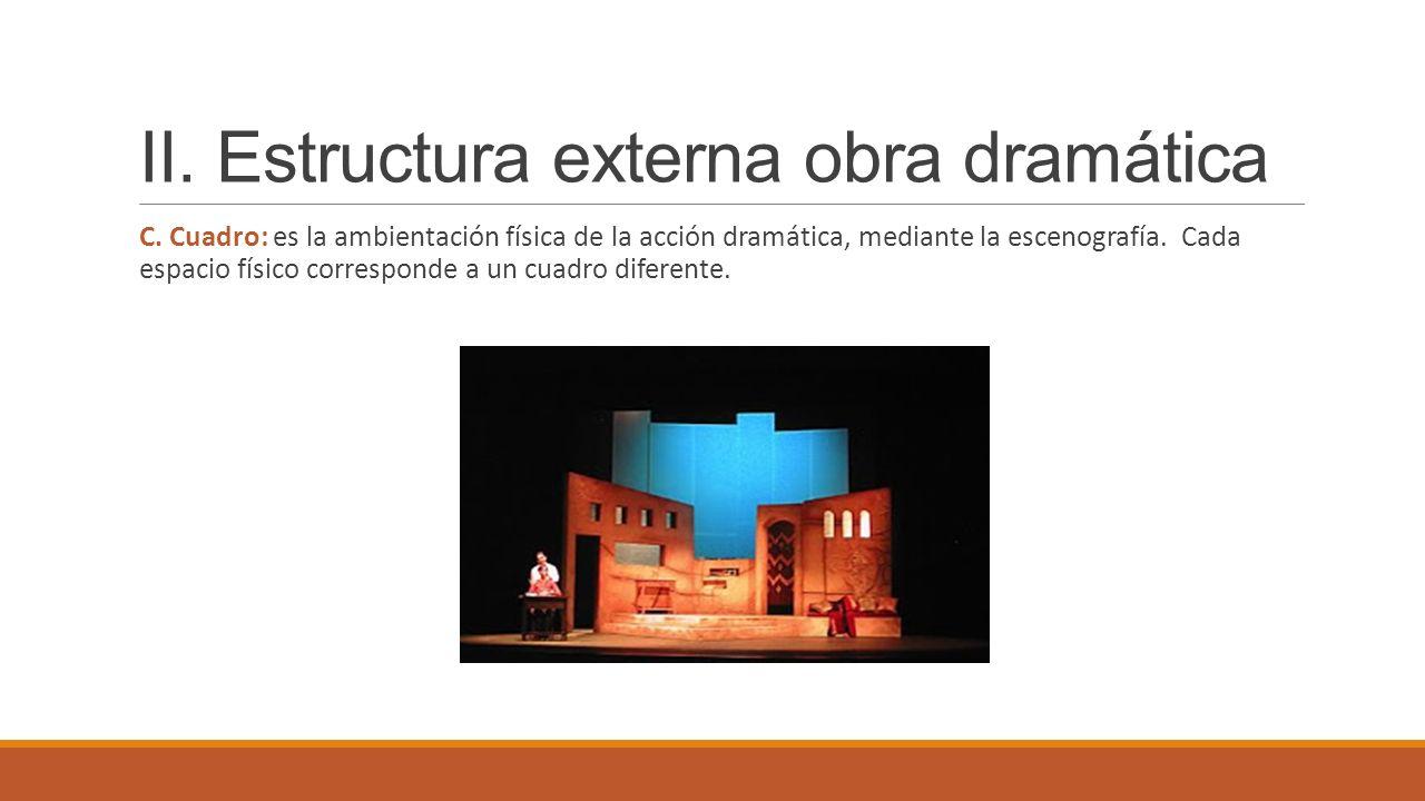 II. Estructura externa obra dramática C. Cuadro: es la ambientación física de la acción dramática, mediante la escenografía. Cada espacio físico corre