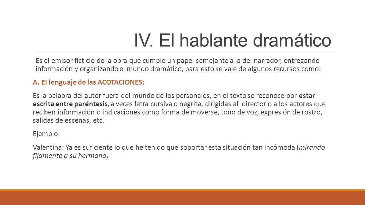 IV. El hablante dramático Es el emisor ficticio de la obra que cumple un papel semejante a la del narrador, entregando información y organizando el mu