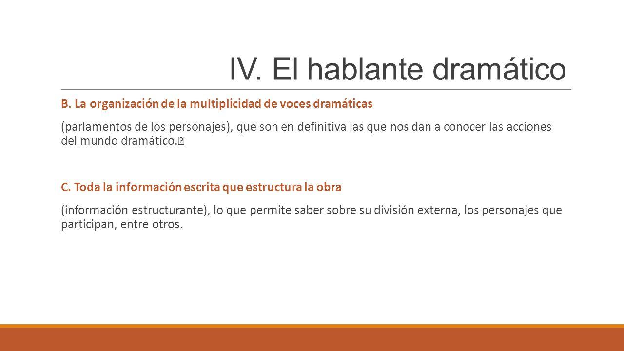IV.El hablante dramático B.
