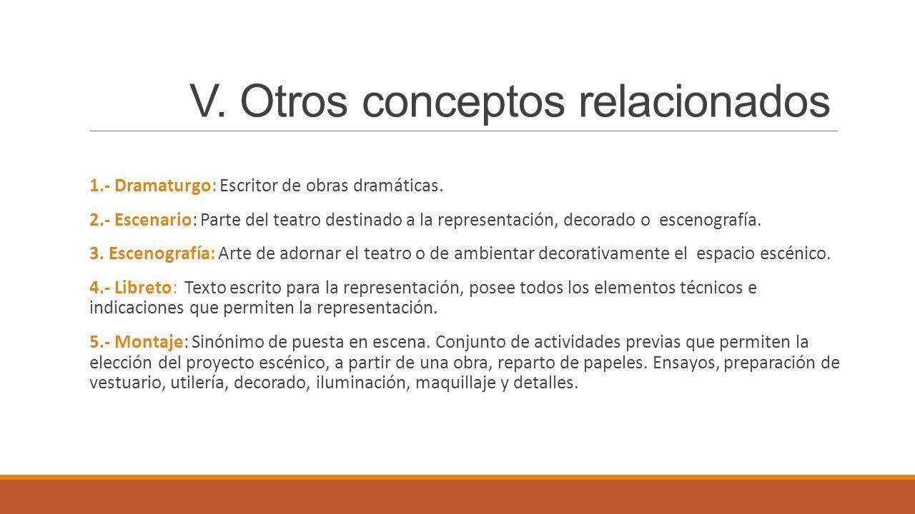 V. Otros conceptos relacionados 1.- Dramaturgo: Escritor de obras dramáticas. 2.- Escenario: Parte del teatro destinado a la representación, decorado