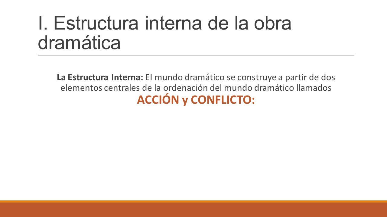 I. Estructura interna de la obra dramática La Estructura Interna: EI mundo dramático se construye a partir de dos elementos centrales de la ordenación