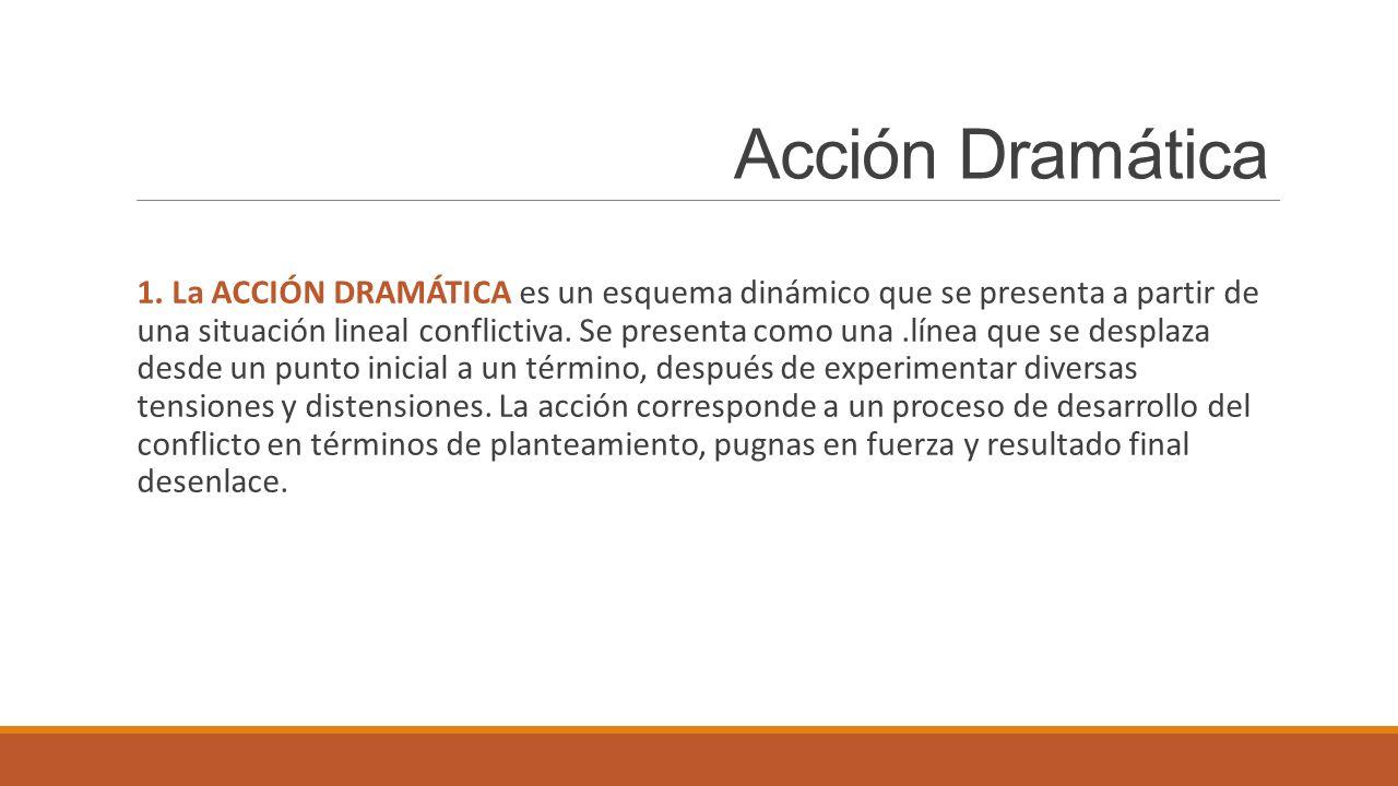 Acción Dramática 1. La ACCIÓN DRAMÁTICA es un esquema dinámico que se presenta a partir de una situación lineal conflictiva. Se presenta como una.líne
