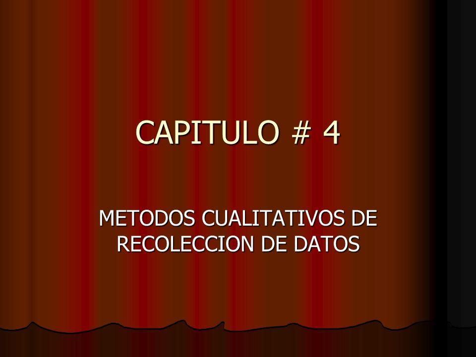 CAPITULO # 4 METODOS CUALITATIVOS DE RECOLECCION DE DATOS