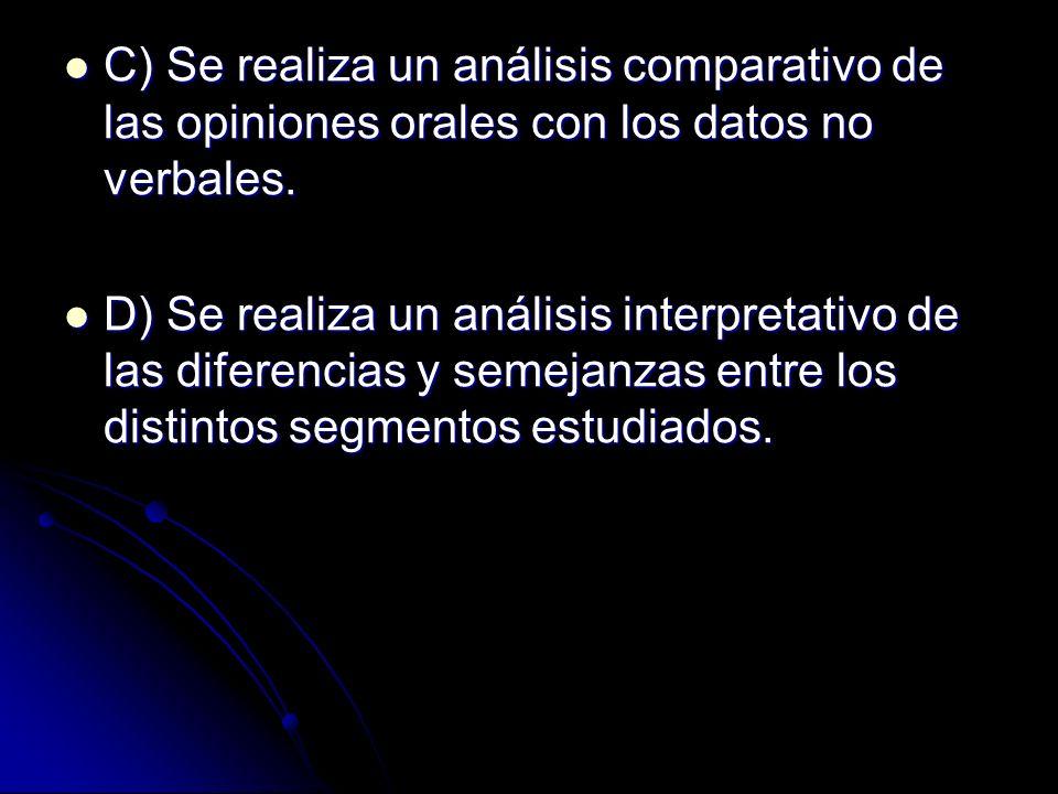 C) Se realiza un análisis comparativo de las opiniones orales con los datos no verbales. C) Se realiza un análisis comparativo de las opiniones orales