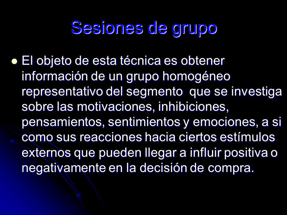 Sesiones de grupo El objeto de esta técnica es obtener información de un grupo homogéneo representativo del segmento que se investiga sobre las motiva