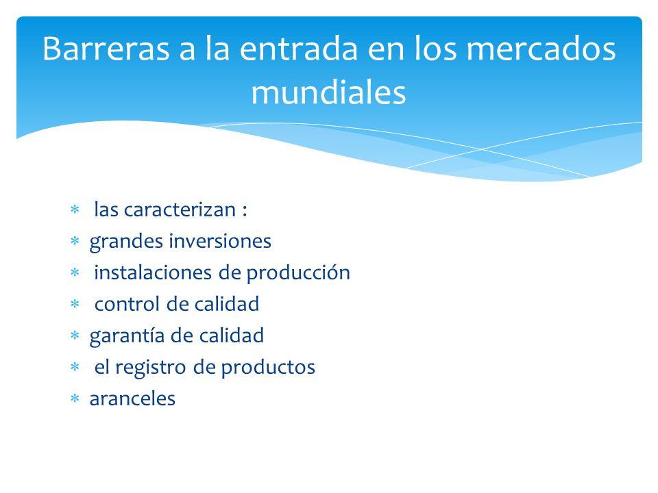 las caracterizan : grandes inversiones instalaciones de producción control de calidad garantía de calidad el registro de productos aranceles Barreras a la entrada en los mercados mundiales