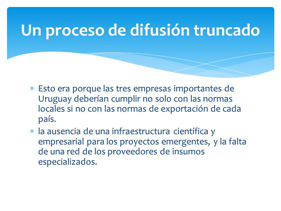 Esto era porque las tres empresas importantes de Uruguay deberían cumplir no solo con las normas locales si no con las normas de exportación de cada país.