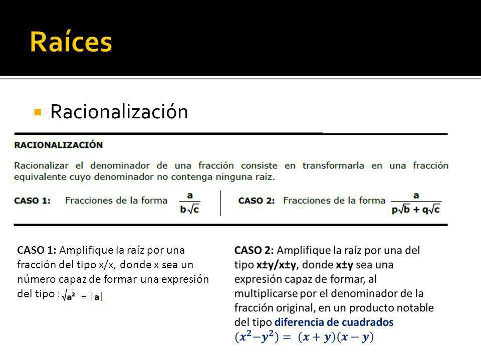 Racionalización CASO 1: Amplifique la raíz por una fracción del tipo x/x, donde x sea un número capaz de formar una expresión del tipo :