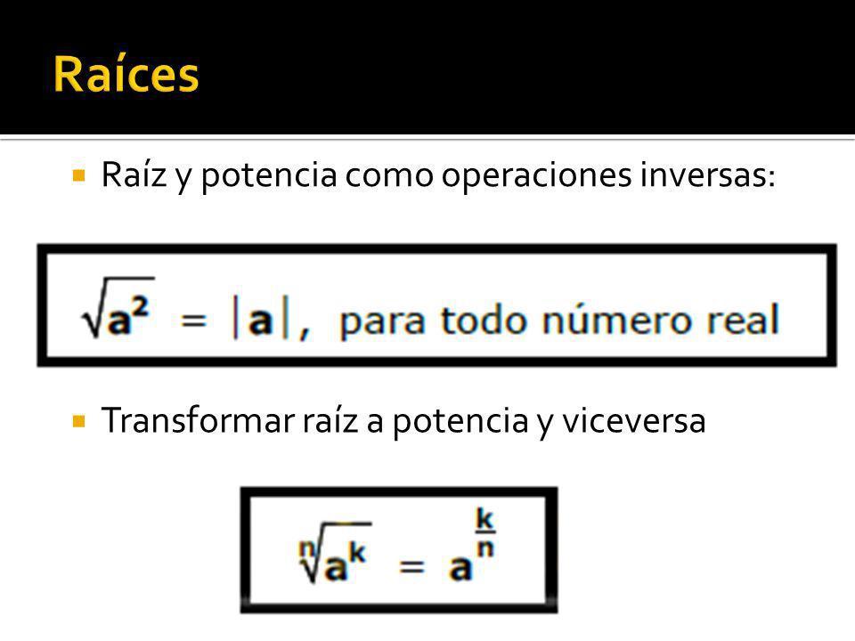 Transformar raíz a potencia y viceversa Raíz y potencia como operaciones inversas: