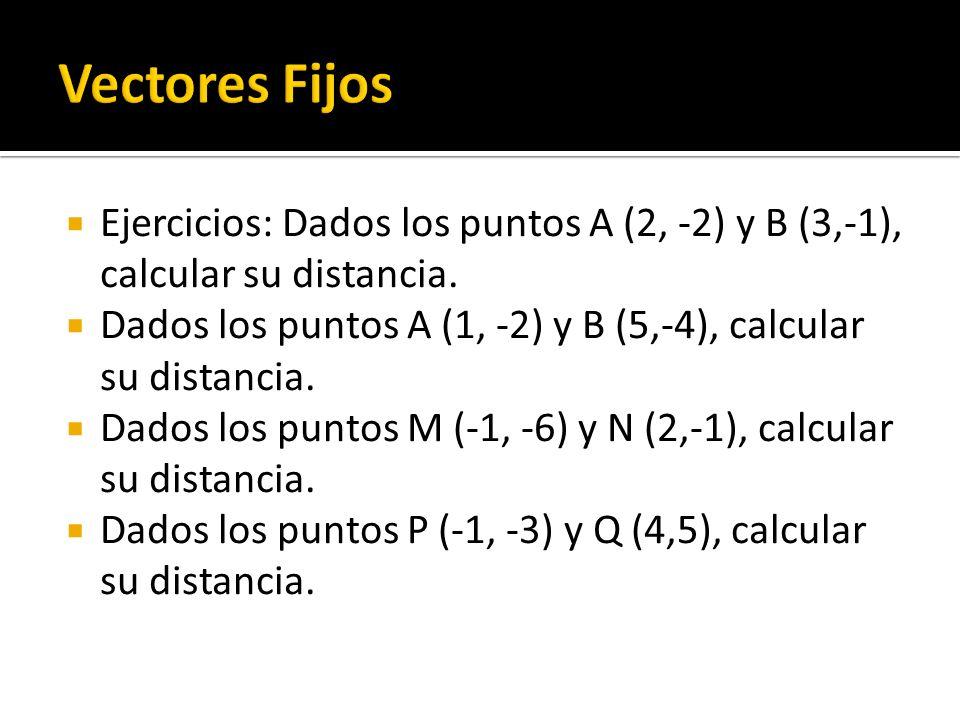 Ejercicios: Dados los puntos A (2, -2) y B (3,-1), calcular su distancia. Dados los puntos A (1, -2) y B (5,-4), calcular su distancia. Dados los punt