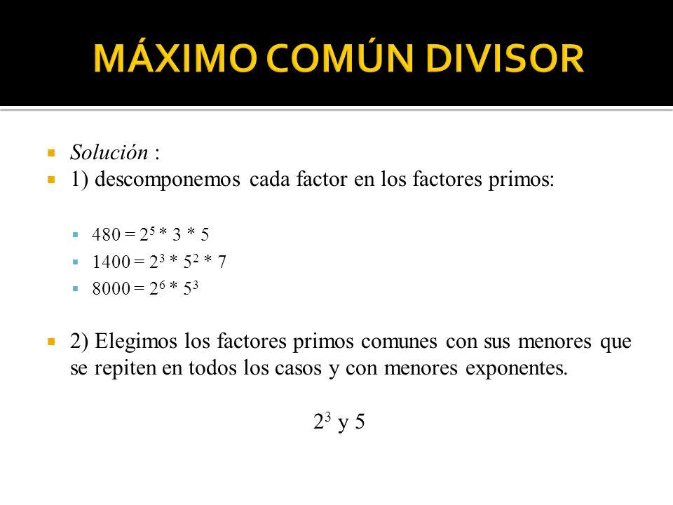 3) El producto de dichos factores es el m.c. d. Buscado.