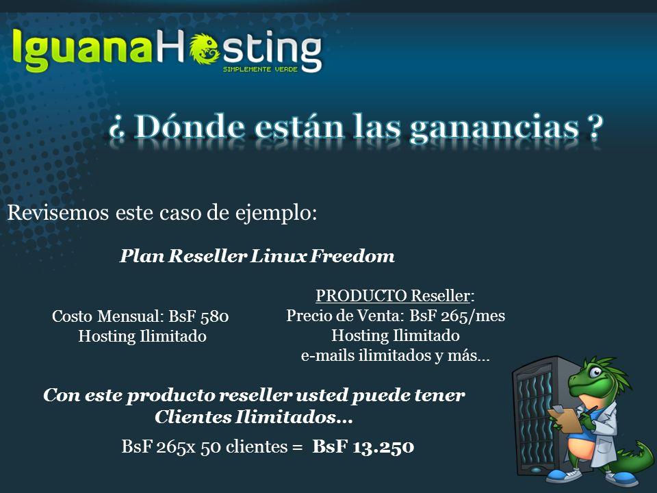 Revisemos este caso de ejemplo: Plan Reseller Linux Freedom Costo Mensual: BsF 580 Hosting Ilimitado PRODUCTO Reseller: Precio de Venta: BsF 265/mes H