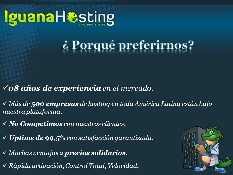 No Competimos con nuestros clientes. Más de 500 empresas de hosting en toda América Latina están bajo nuestra plataforma. 08 años de experiencia en el