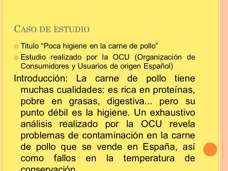 C ASO DE ESTUDIO Titulo Poca higiene en la carne de pollo Estudio realizado por la OCU (Organización de Consumidores y Usuarios de origen Español) Int